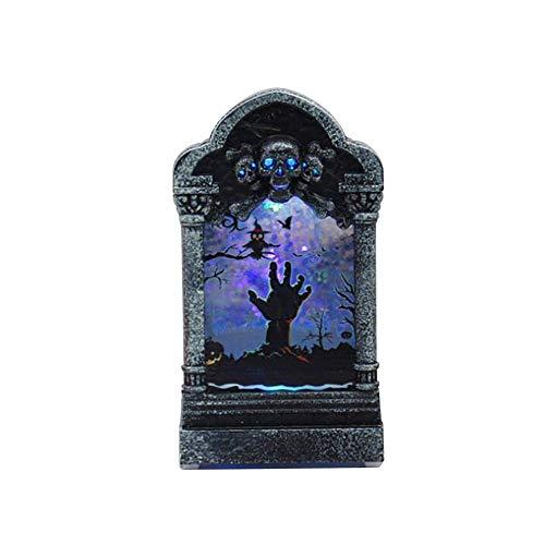 Young4 halloween decorazione luminoso spaventoso pietra tombale ornamenti creativo pietra tombale luce notturna zucca teschio lampada casa festa decorazione fai da te - fantasma mano, 7.2*12.6*3.8cm