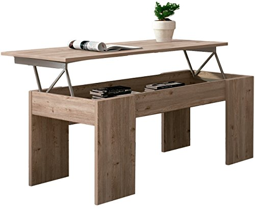 Studio Decor Table Basse Relevable Lara, Couleur Bois Cérusé, 100 X 50 X 45