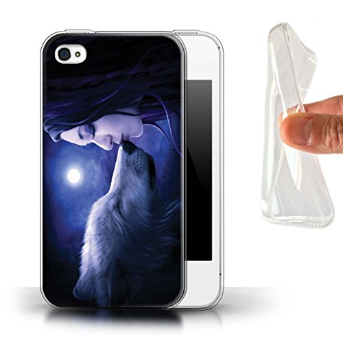 Officiel Elena Dudina Coque / Etui Gel TPU pour Apple iPhone 4/4S / Par le Vent Design / Un avec la Nature Collection Baiser de Lune