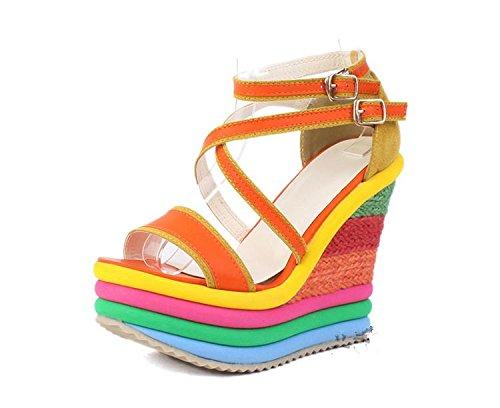 LvYuan Sandali di estate delle donne / Office & Carriera / piattaforma sexy / impermeabile / tallone di cuneo / colore misto / fibbia / stile nazionale Bohemian Orange