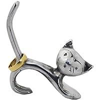 Ringhalter Katze aus Metall | Handarbeit | Ringhalter silber | Ringständer | Schmuckständer