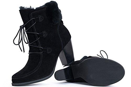 OZZEG De mode dames conçu Slip sur bottes en cuir en peau de mouton laine doublure chaussures Noir