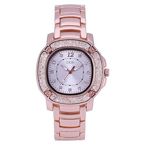 Deloito Damen Luxus Uhr Edelstahlband Armband Verschluss Uhren Mode Runden Analoger Quarz Armbanduhr (Rosegold)