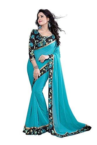 Vinayak Trendz Georgette Saree With Blouse Piece(Saree Sale Mkd_Sky Blue_Free Size)
