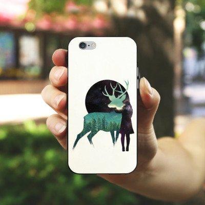 Apple iPhone X Silikon Hülle Case Schutzhülle Hirsch Mädchen Mond Silikon Case schwarz / weiß
