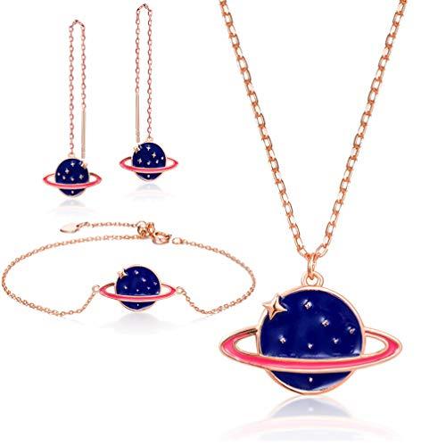 WANZIJING 925er Sterling Silber Schmuck 3er Set, Blaue Sonnensystem Halskette Armband Ohrringe Set Hochzeitsfest - Schmutz Billige Kostüm Schmuck