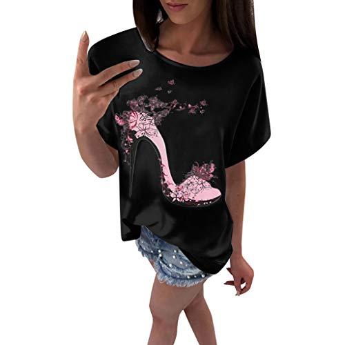 OVERDOSE Frauen Kurzarm Blumen Pumps Gedruckt Tops Strand Beiläufige Lose Bluse Top T-Shirt (EU-44/CN-XXL, X-e-schwarz)
