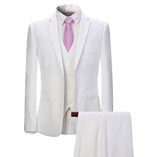 YOUTHUP Slim Fit 3 Teilig Business Hochzeit Herren Anzug Smoking (Weiss Anzug Herren)