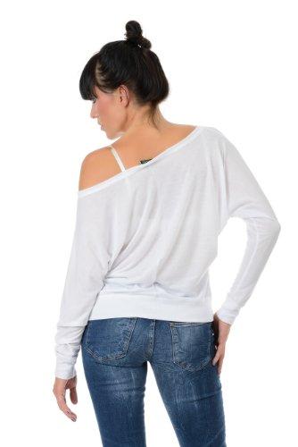 cooles Longsleeve Shirt Damen mit Print Schnauze voll von 3Elfen - locker geschnitten Weiß Schwarz