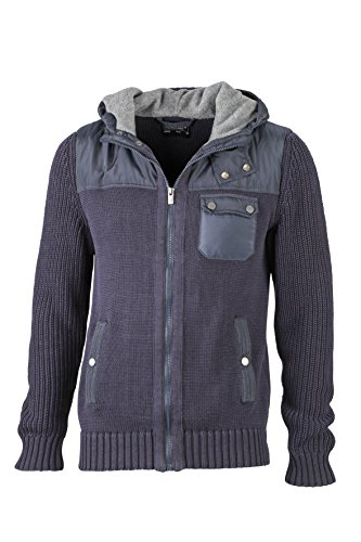 James & Nicholson Herren Jacke Jacke Men's Knitted Winter Cardigan Navy/Lightgrey-Melange