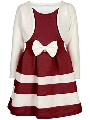 BEZLIT Mädchen-Kleid Kinder-Kleider Spitze Winter-Kleid Fest-Kleid Lang-Arm Kostüm 30003 Weiß-Bordeaux 92
