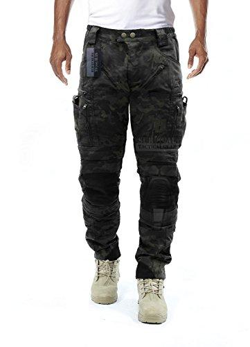 Survival Tactical Gear Herren Airsoft Wargame Taktische Hose mit Knieschutz und Luftzirkulationssystem, Multicam Black Camo, Medium