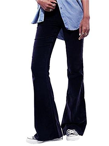 Mena UK- AA vent fort Women 's - Qualité Auto - Les Abrasifs de culture Pantalons Jeans délavés par marque de mode indépendant Big Bell - Bottoms ( couleur : Noir , taille : Xs )