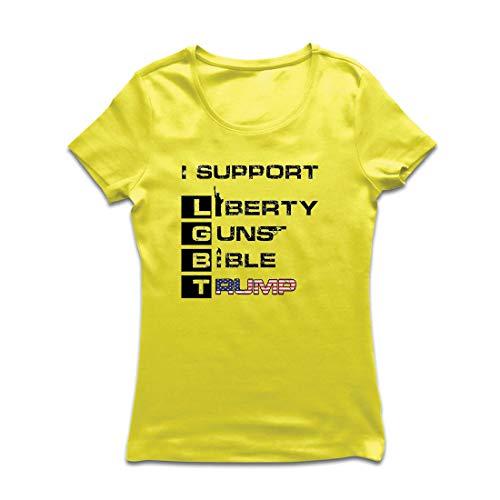 lepni.me Frauen T-Shirt Liberty Guns Bibel Trump, lustig, ich unterstütze LGBT, Parodie US-Wahlen (XX-Large Gelb (Beste Original Paare Kostüme)