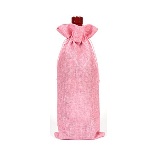 rustique en toile de jute Sacs à vin en toile de jute avec cordon Cadeau Sacs couvertures de bouteille de vin de stockage organisation free size rose