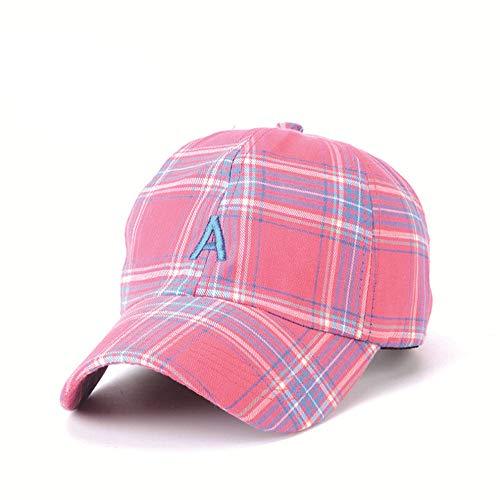Yaal Baseballkappe, Visor Plaid Drei-Farben-Sonne Hat Männlichen Hip-Hop-Brief Eine Baseball Kappe Für Männer und Frauen,Pink