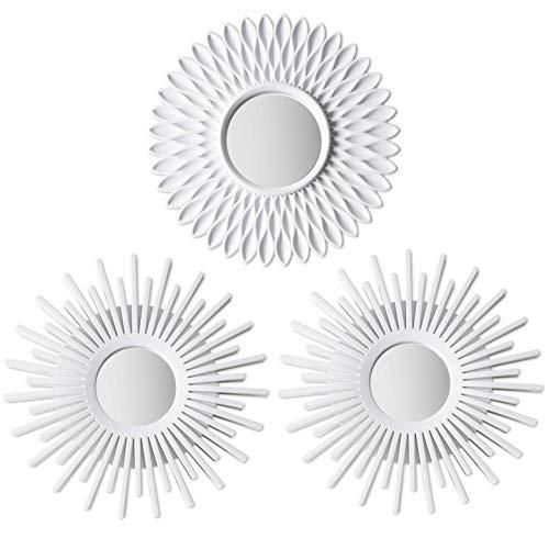 BONNYCO Espejos Pared Decorativos Blancos Pack 3 Espejos Decorativos Ideales para Decoracion Casa, Habitación...