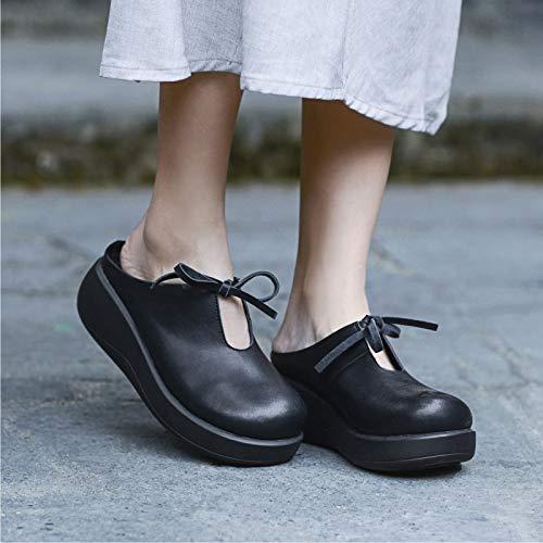 883278ad JIA HONG Nuevos Zapatos De Cuero Hechos A Mano Originales Zapatillas Cuña  Inferior Gruesa Casual Casual