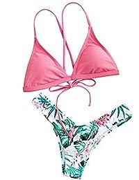 SOLYHUX Mujer Conjunto De Bikini con Detalle De Estampado Y Cordón de baño Bikini,+2 PCS Traje de Baño 2018 Verano Sexy