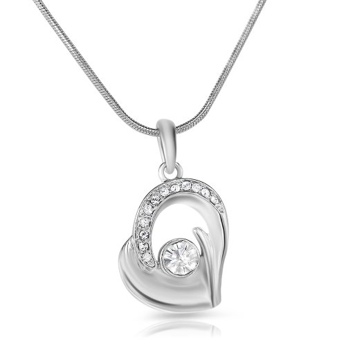 Mahi Rhodium Plated Bejeweled Pendant of Brass Alloy with Crystal for Women PS1191726R