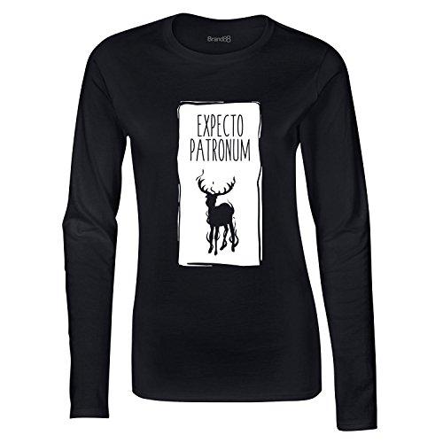 Expecto Patronum, Damen Langarm-T-Shirt, Schwarz/Weiß, M = 8-10