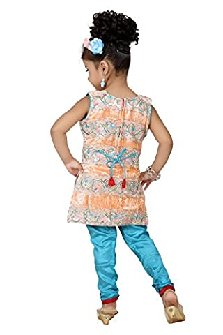 Baby Girl Salwar Suit New Born Infant Frock Suit Churidar Dress Wedding Prom Partywear Top Shirt+Leggings Toddler Ethnic Traditional Dupatta Suit - PEACH & TURQUOISE - 0-6 months (BGWC-515_PEACH)