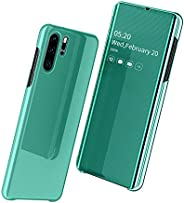 Huawei P30 Pro Case, Slim Smart Mirror Screen Cover and PC Back Case, Clear View Window Full Body Protective F