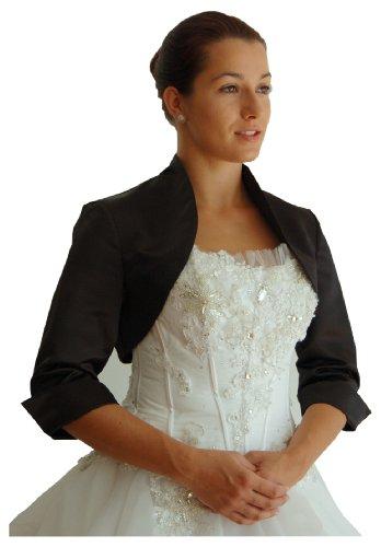 Brautjacke Bolero Satin 3/4-Arm in weiß, ivory und schwarz, Farbe:Schwarz;Größe:50