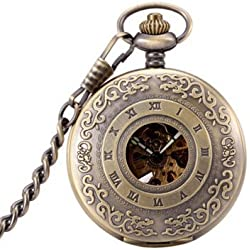 Antique Hollow Case Retro Pendant Luminous Hands Scale Roman Numerals Dial Automatic Mechanical Pocket Watch with Gift Box and Chain Brown