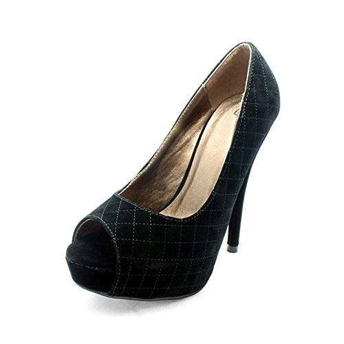 Noir matelassé surpiqué peep toe tribunal de grande plate-forme chaussures Black Suedette