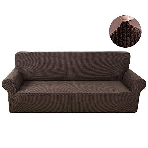 Sofabezug Sofahusse 3 Sitzer Elastisch Stretch Jacquard aus Rutschfest Material Elegant (Braun, 3 Sitzer 190-230cm)