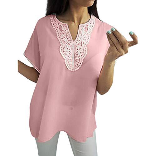 LILICAT Sommer Tops für Damen Tiefer V-Ausschnitt Kurzarm Oberteil Tops Sexy Tunika T-Shirt Frauen Plus Größe Spleißen Spitze Kurzarm Chiffon Bluse Easy Top Shirt