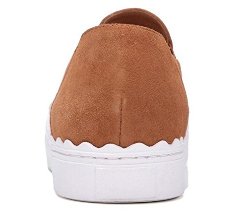 Beauqueen 2017 Fashion Pumps Wildleder Loafers Round-Toe Gürtel Frühling Sommer Casual Office Elegant Style Schuhe Europa Größe 35-39 Camel