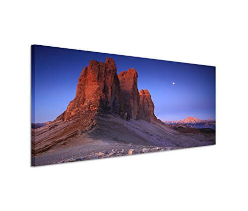 Quadro su tela 150x 50cm, con cornice, Italia Alpi Dolomiti roccia al tramonto–come panorama - Autori Roccia