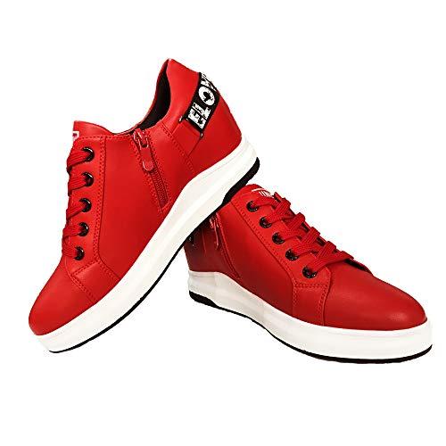 Hotroad Donna Sneakers con Zeppa Interna 6cm, Scarpe da Ginnastica Basse, Fondo in Gomma, Chiusura a Cerniera, Moda Sportive Casual Stringate all'aperto, Rosso / 34.5 EU