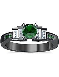 Silvernshine 1.35Ct Round & Buget Cut Green Garnet Sim Dimoands 14K Black Gold PL Engagement Ring