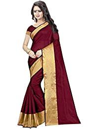 Mac Sarees Women's Cotton Silk Saree With Blouse Piece (Latest Saree M81_Wine)