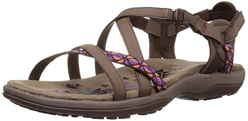Skechers Women's Reggae Slim-Vacay Flat Sandal, Chocolate, 5 M US
