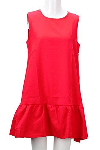 Frauen Ärmellose Sommer Mini A-Line Cocktail Kleid Red