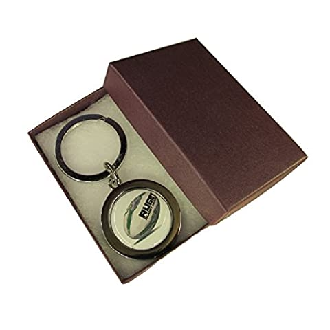 Handmade Silver Plated - Rugby Ball Inspired Keyring - Boxed Gift