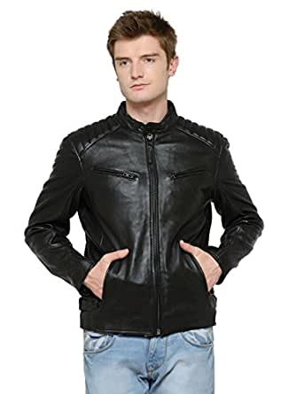 Just Red Quilted Shoulder Leather Jacket Amazon Clothing