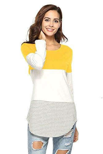 PassMe Maglietta Donna Maniche Lunghe Cotone T-shirt Collo Rotondo Camicetta a Strisce Irregolare Camicia Bluse Casuale Tops Elegante Giallo