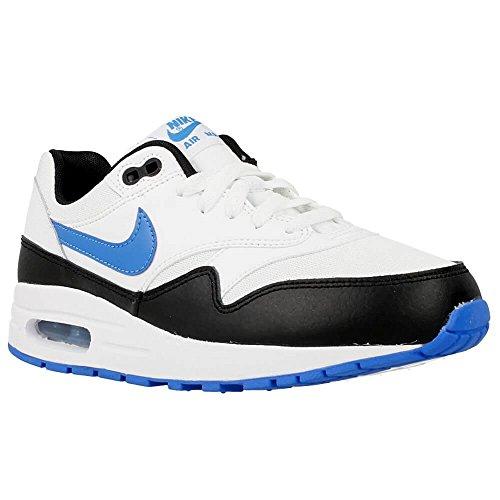 Nike White / Photo Blue-Black, Chaussures de Sport Garçon Blanc Cassé - Blanco (White / Photo Blue-Black)