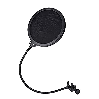 JZK® High quality microphone pop filter stand pop shield anti-pop screen 360° swivel, fit any standard microphone, Blue Snowball, Blue Yeti, Rode, Samson, Logitech, BTSKY, etc