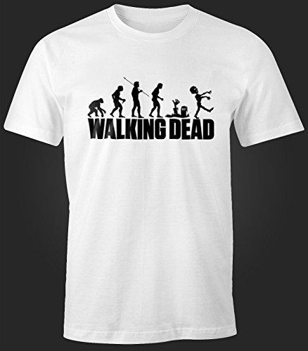 Herren T-Shirt - Walking Dead Zombie Revolution - Comfort Fit MoonWorks® Weiß