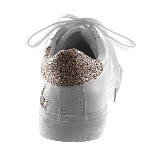 Angkorly Scarpe Moda Sneaker Sporty Chic Tennis Donna Stella Paillette Tacco Tacco Piatto 2.5 cm Bianco rosa
