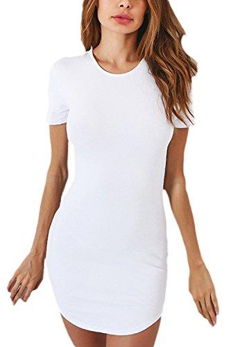 Le Donne Si Bodycon Night Mini Vestito In Maniche Corte Solido White