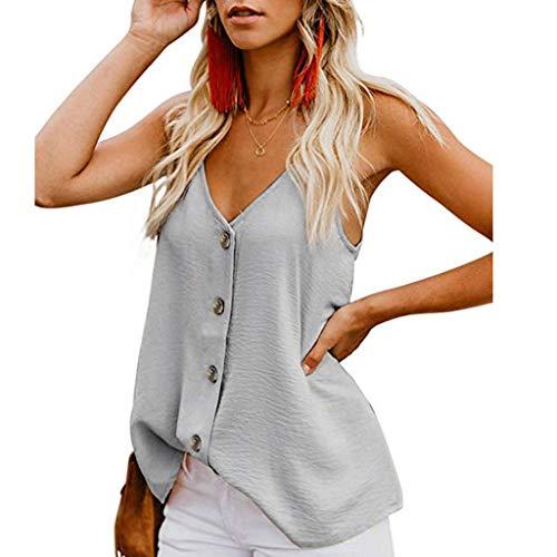 267e169ee Camisetas sin Mangas de Verano para Mujer Camisas Mujer Fiesta Cuello en V  botón Tirantes Camiseta de Tirantes Mujer Camiseta Deportiva Camisa de ...
