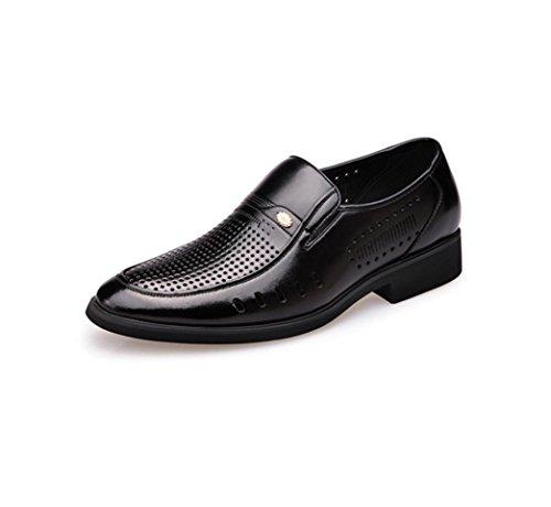 HYLM Les nouvelles chaussures en cuir dété Hommes Hollow Chaussures respirantes Chaussures décontractées Chaussures daffaires Chaussures en cuir de cuir véritable Black