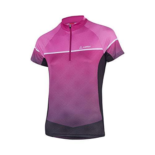 Kurzarm-damen-bike-trikot (LÖFFLER Bike Shirt Platy Women - Black/Berry)
